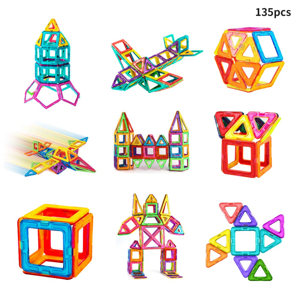 Siwo 3D Magnetic Building Block Set, 135Pcs Pure Magentic Buliding Tiles, Kids Educational Stacking Blocks Development of Intelligence and Fun
