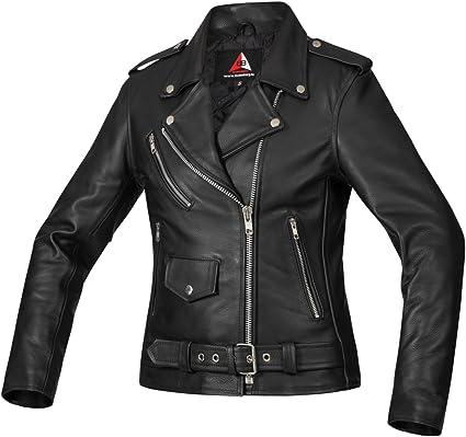 Bohmberg Premium Chaqueta de cuero atractiva para mujer Cuero 100/% real-para motociclistas-cuero pesado XL