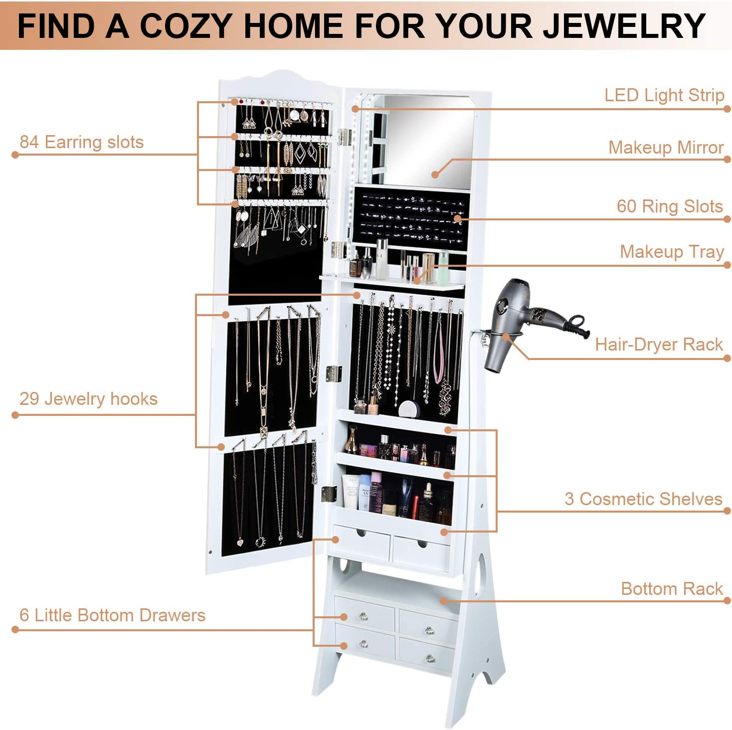 Fridaydiscount Standing Jewelry Organizer Armoire with LED Lights Full Length Mirror Jewelry Cabinet Hair-Dryer Rack 3 Beveled Angles and 6 Drawers White Large Capacity
