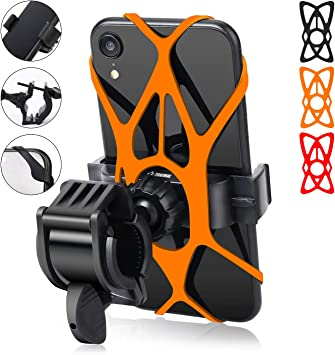 360/° Rotation Motorcycle Bicycle Handlebar Cradle Motorola LG (2pcs, Silicone Cell Phone Holder for iPhone Xs Max//XR//8 Plus//7//6S Samsung Galaxy S10+ Bike Phone Mount Holder Nexus S10e//S9//S8 S10