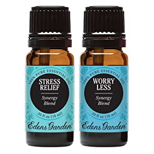 Edens Garden Stress Relief & Worry Less Essential Oil Synergy Blend, 100% Pure Therapeutic Grade, 10 ml Value Pack