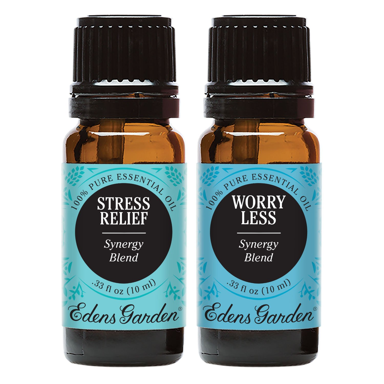 Stress Relief + Worry Less Value Pack 100% Pure Therapeutic Grade Essential Oil by Edens Garden 2 Set 10 ml