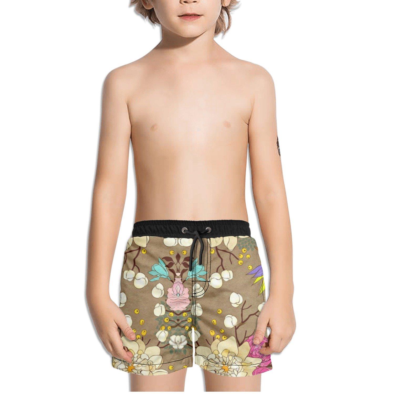 Ouxioaz Boys Swim Trunk Pretty Flowers Clipart Beach Board Shorts