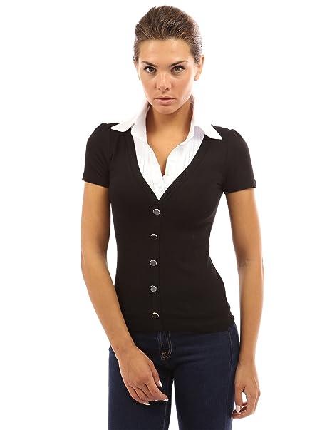 PattyBoutik Mujer 2-en-1 camisa plisada blusa blanca: Amazon.es: Ropa y accesorios