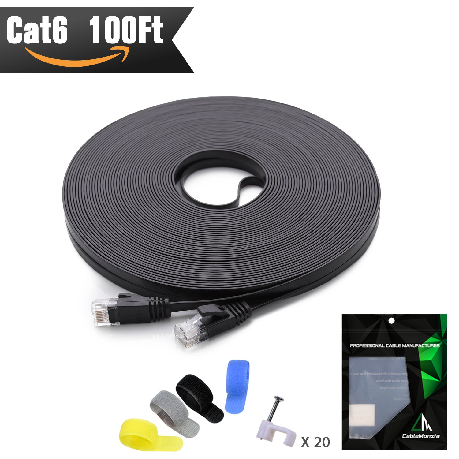Cat 6 Ethernet Cable 100 ft (at a Cat5e Price but Higher Bandwidth) Flat Internet Network Cable - Cat6 Ethernet Patch Cable Short - Black Computer LAN Cable + Free Cable Clips Straps