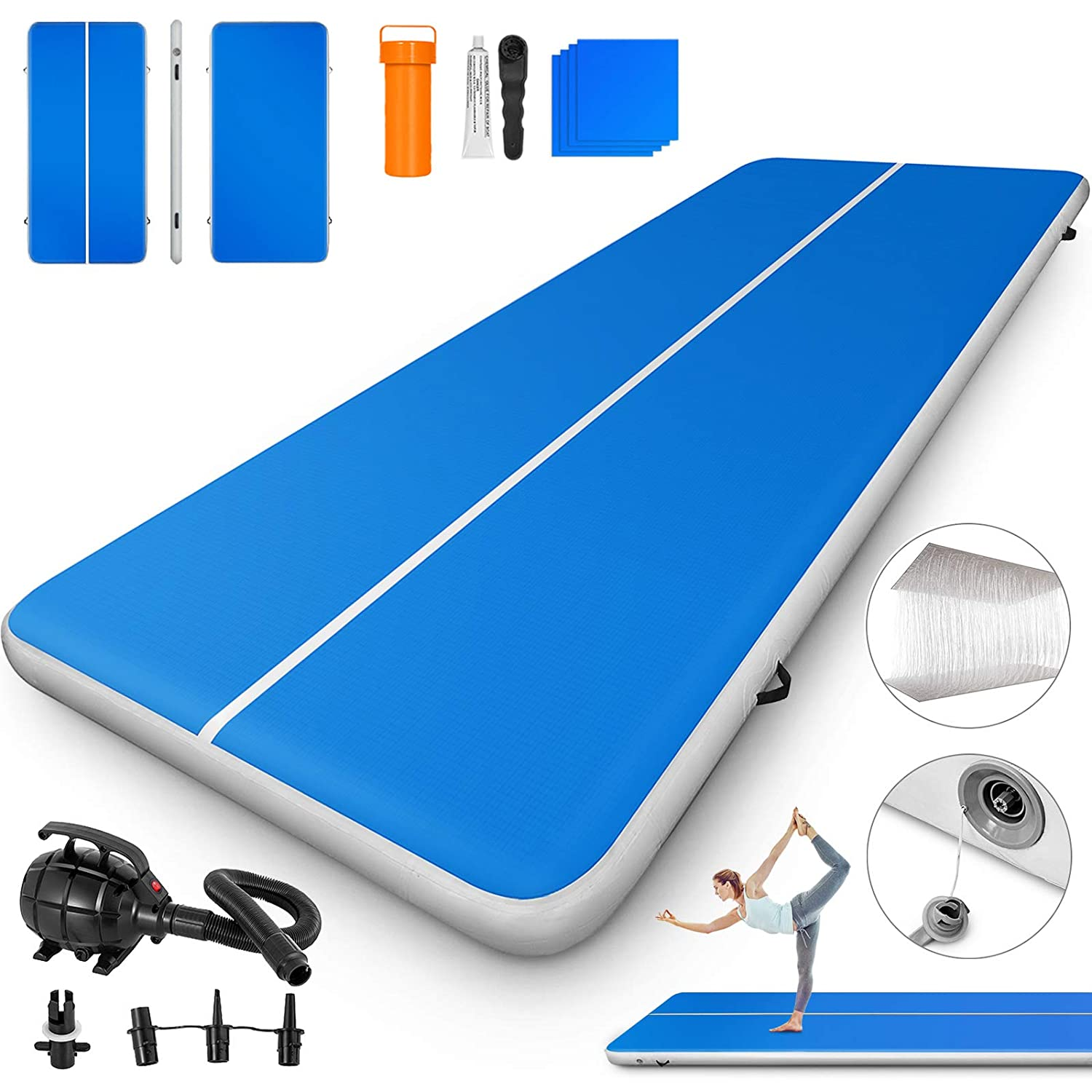 Happybuy 10ft//13ft//17ft//20ft//23ft//26ft//33ft Air Track 8 inches Thick Tumbling Mat Inflatable Gymnastics Airtrack for Home//Cheerleading//Yoga//Parkour//Water with Pump 10ft