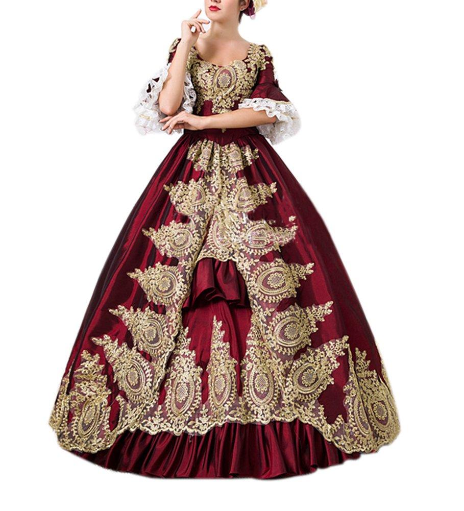 ROLECOS Womens Royal Retro Medieval Renaissance Dresses Lady Satin Masquerade Dress Wine Red
