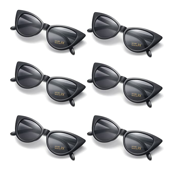 81816e29c79e 6 Packs Retro Vintage Cat Eye Sunglasses for Party Clout Goggles Plastic Frame  Glasses (black