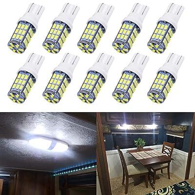 Qoope - Pack of 10 - Xenon White T10 921 194 42-SMD 12V LED Lights Bulbs for RV Trailer Lighting Backup Reverse Light Side Marker Light: Automotive