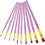 heartybay Paint Brush Set Round Pointed Tip Nylon Hair Artist Acrylic Brush Watercolor Oil Painting (Purple 10pcs)