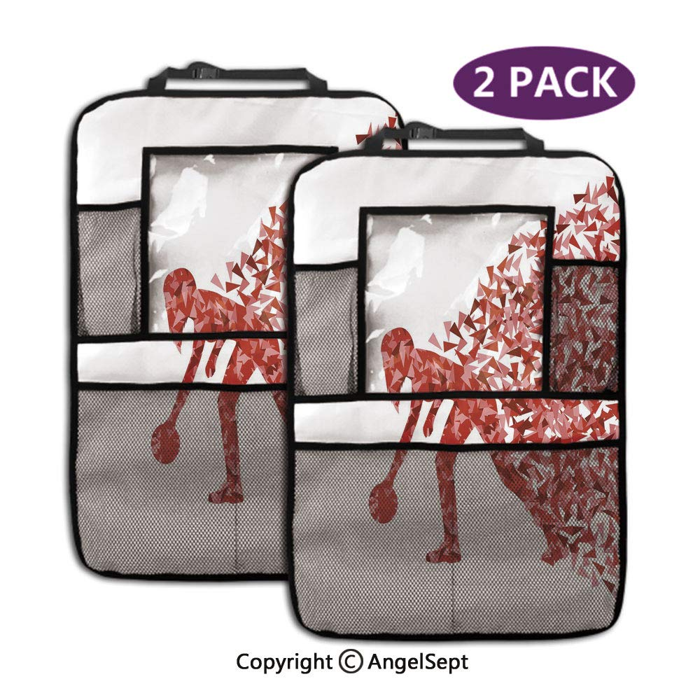 Storage Pockets Seat Back Protectors,Abstract Fractal Player Silhouette with Triangles Art Red Light Pink White,19.3x27.2inch,Travel Accessories for Toddlers Toys(2 Pack) by RWNFA