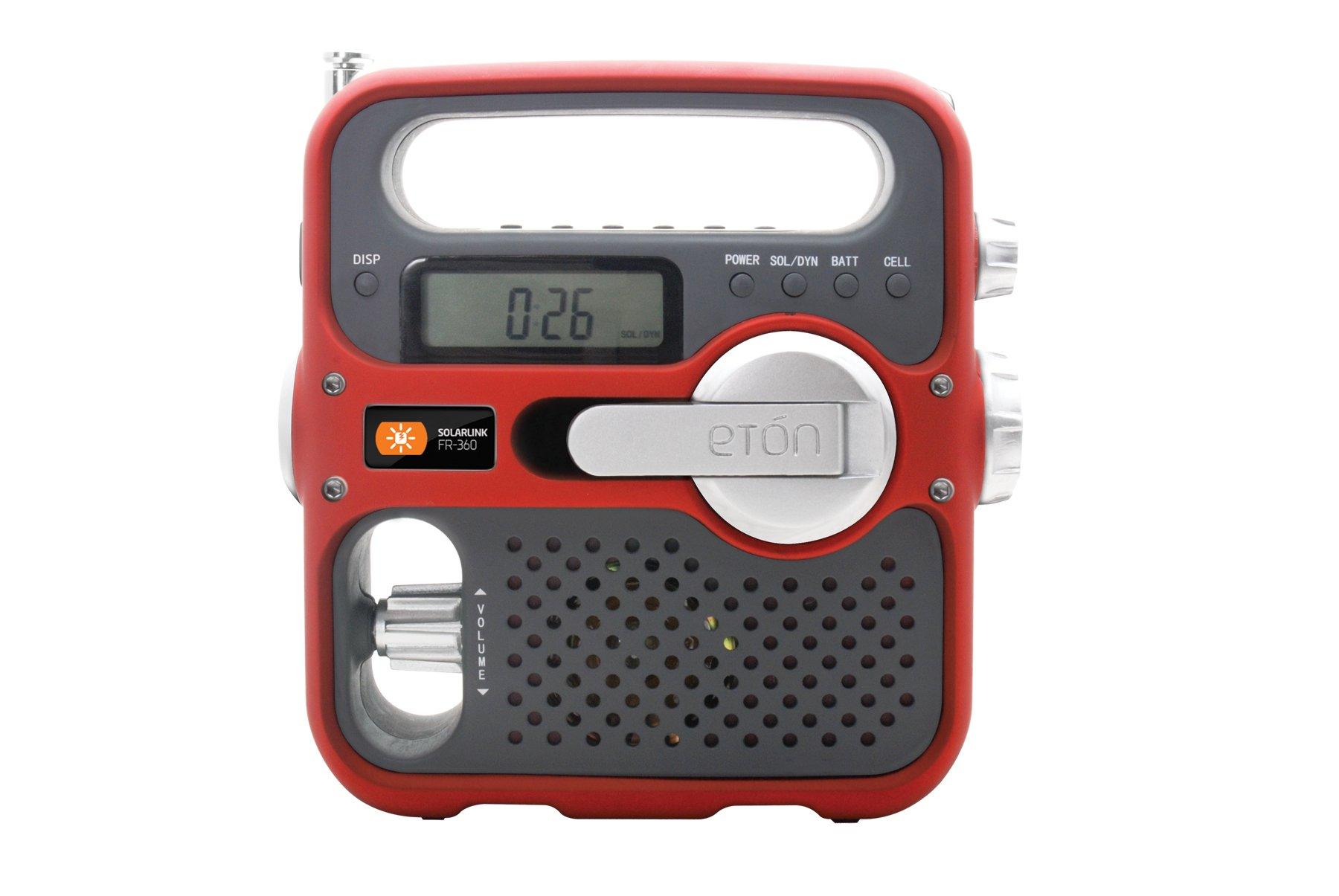Eton Solarlink FR360 Self-Powered AM/FM/NOAA Radio with Solar Power, Flashlight, and Cell Phone Charger (Red)