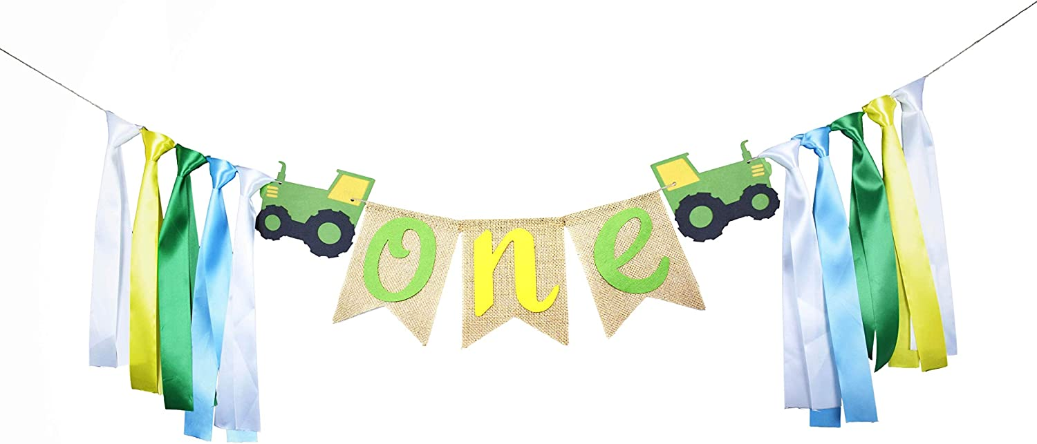 RORARO Green Tractor 1st Birthday Banner ONE High Chair Banner for Baby's Tractor Time Party