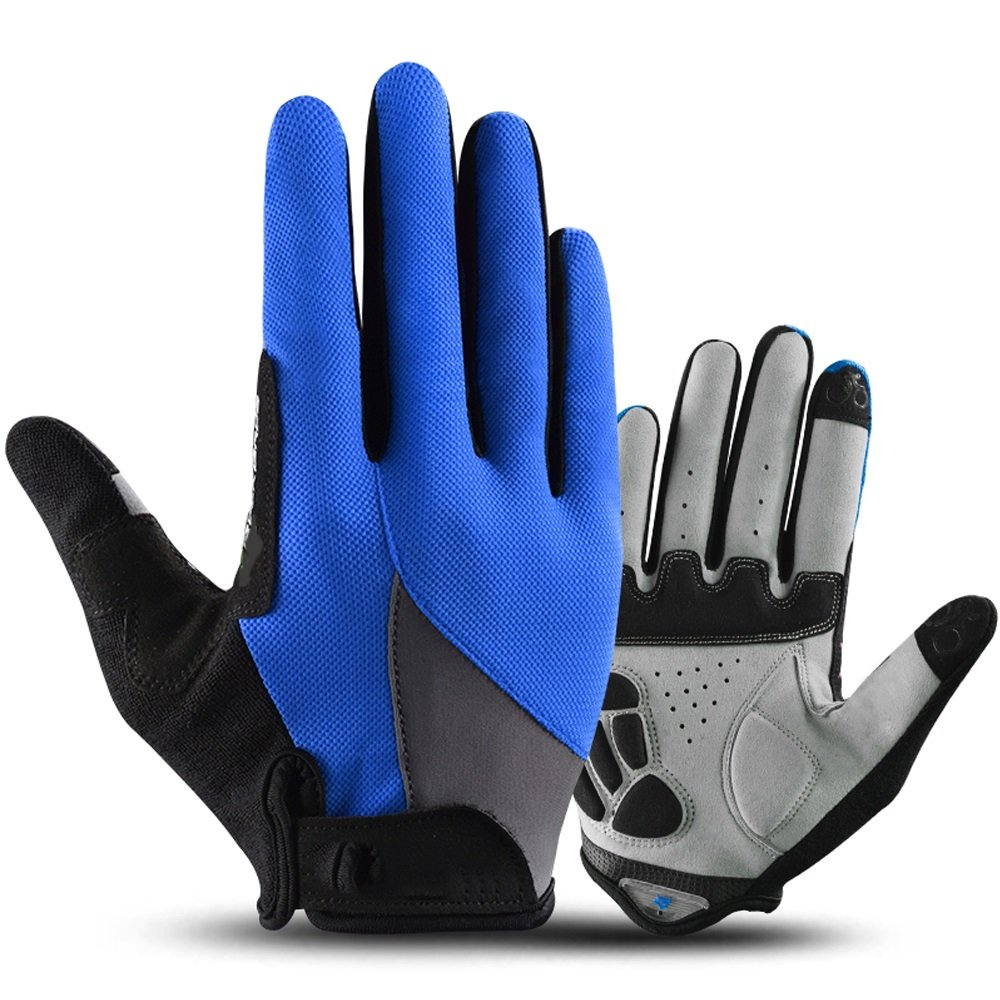 YZFGY Riding Gloves All Refers to The Sunscreen Outdoor Sports Touch Screen Climbing Bike Gloves Long Finger Men and Women Spring and Summer Sport Gloves (Color : Blue) by YZFGY