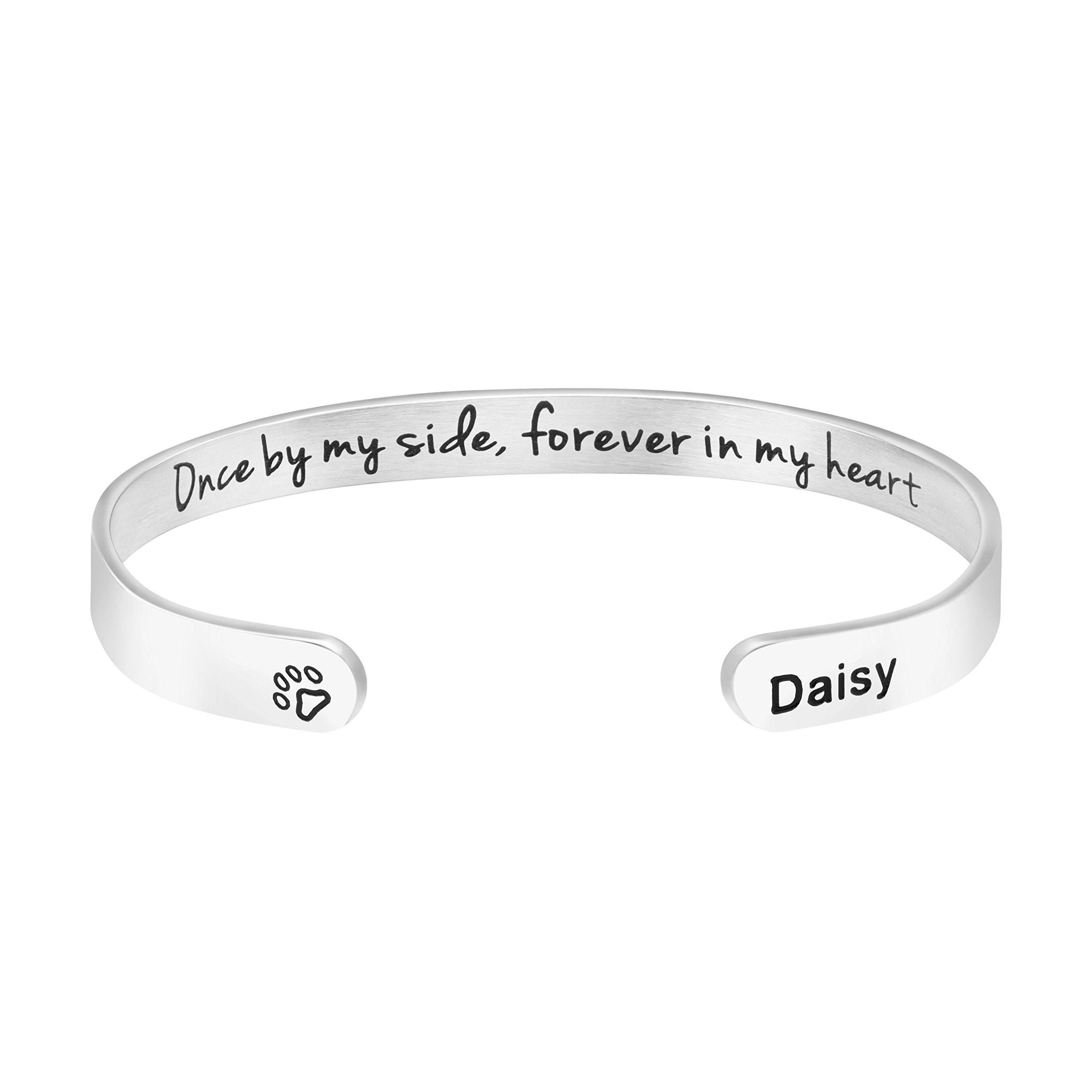 Awegift Pet Remembrance Gift Sympathy Cuff Bracelet Pets Loss Stainless Steel Bangle Engraved Dog Name Daisy