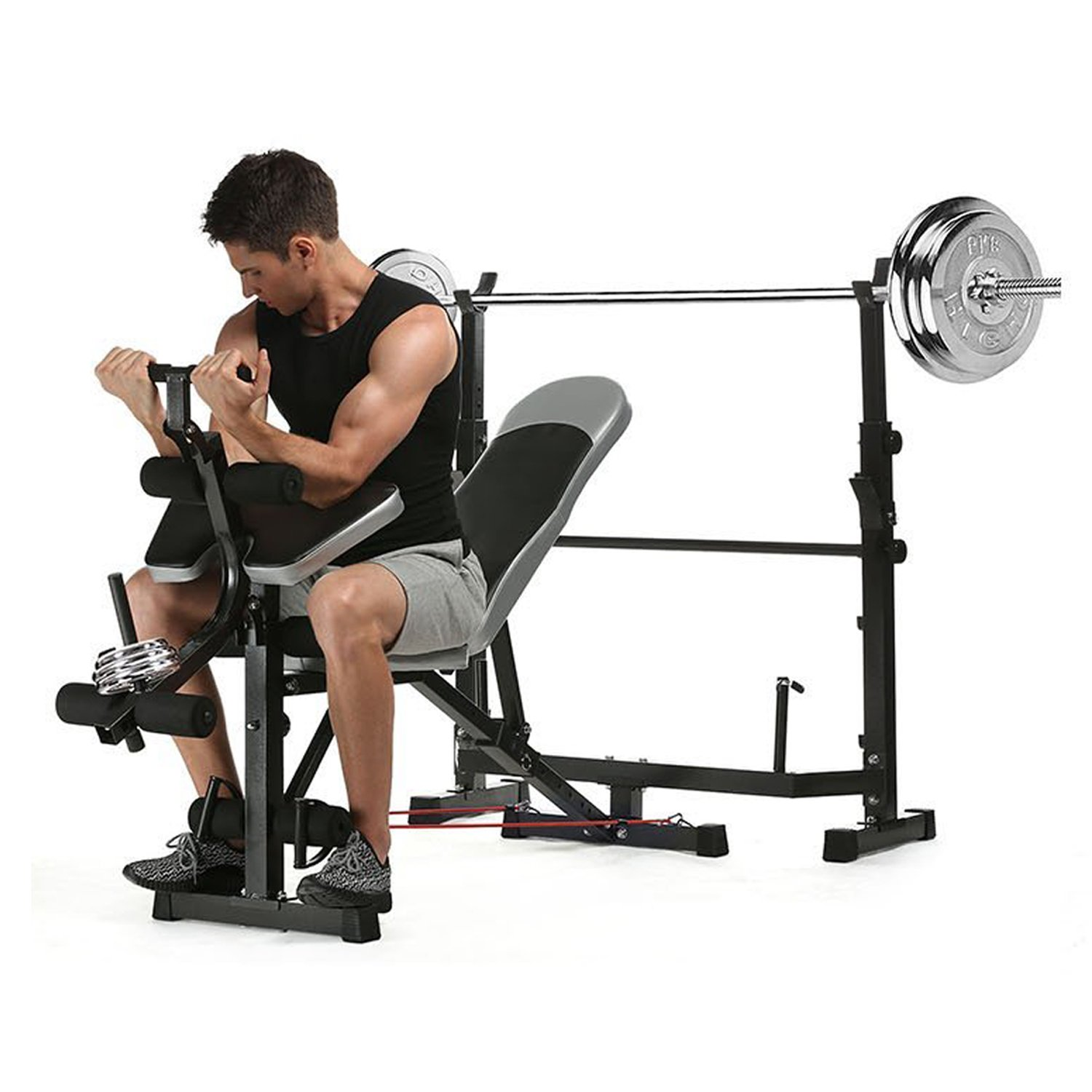 Anfan Olympic Weight Bench, Multi-Function Adjustable Weight Bench with Preacher Curl, Leg Developer for Indoor Exercise (US Stock)