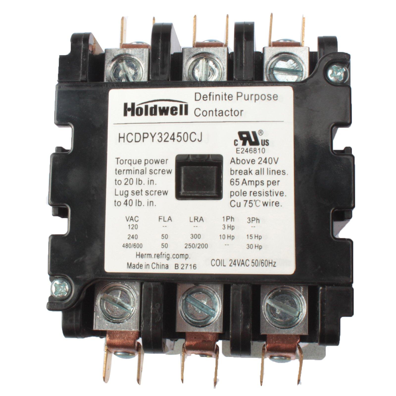 Holdwell 42DF35AJ 3 Pole 50 Amp 24V Coil Definite Purpose Contactor