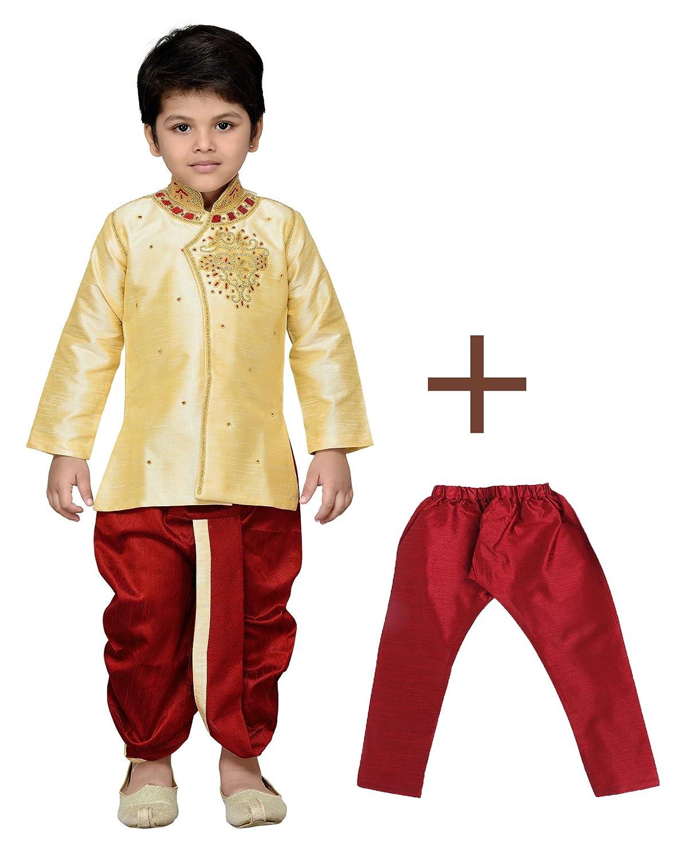 AJ Dezines Kids Indian Wear Bollywood Style Kurta Pyjamas Dhoti for Baby Boys 1905-GOLD-0