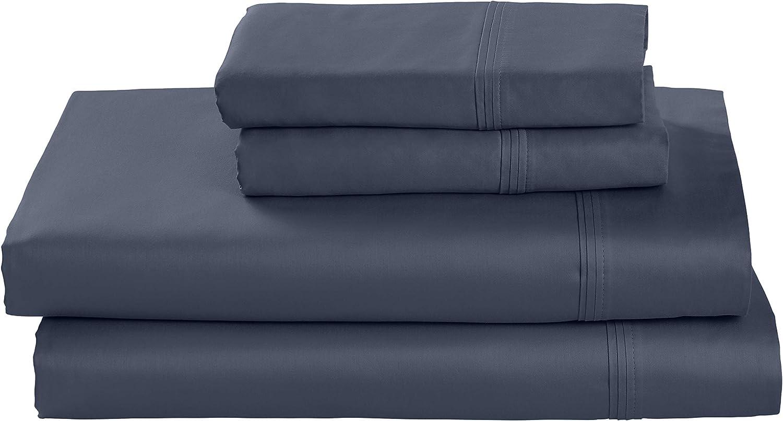 Amazon Brand – Stone & Beam HygroCotton Sateen Bed Sheet Set, Easy Care, King, Regatta Blue