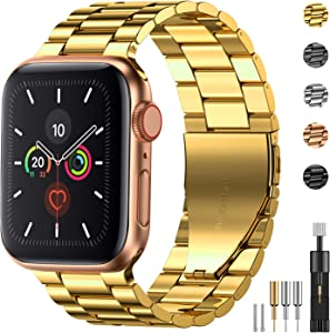 Fitlink Stainless Steel Metal Band for Apple Watch 38/40/42/44mm Strap Replacement Link Bracelet Band Compatible with Apple Watch Series 6 Apple Watch Series 5 Apple Watch Series 1/2/3/4(Gold,38/40mm)