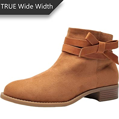 db34a2aef3d Luoika Women s Wide Width Ankle Boots - Low Stack Heel Zip up Bow Buckle  Strap Casual