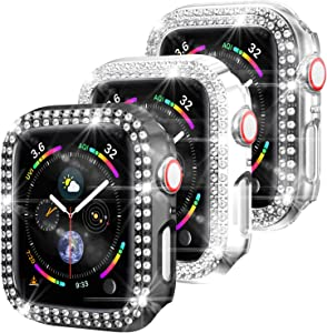 3 Pack-Bharvest Compatible Apple Watch Series 3 and 2 Case 42mm,Protective PC Bumper Cover Bling Crystal Diamond Frame Iwatch Accessories for Women and Girls(Black+Silver+Clear)