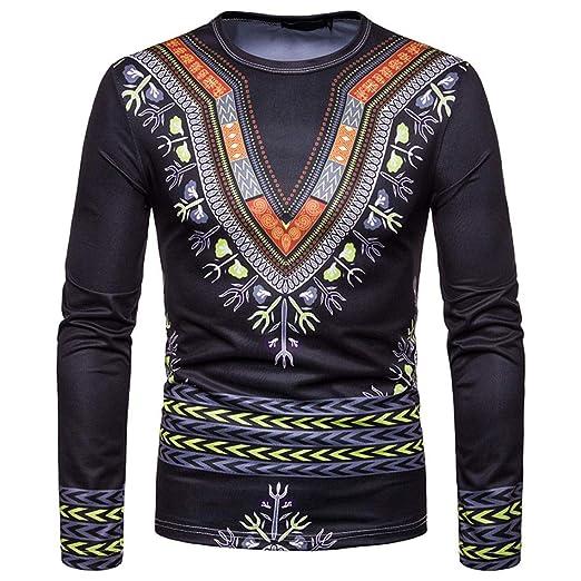 f975614a56d0 Alimao Men s Tops Autumn Winter African 3D Folk-custom Print Long Sleeve  Dashiki O-