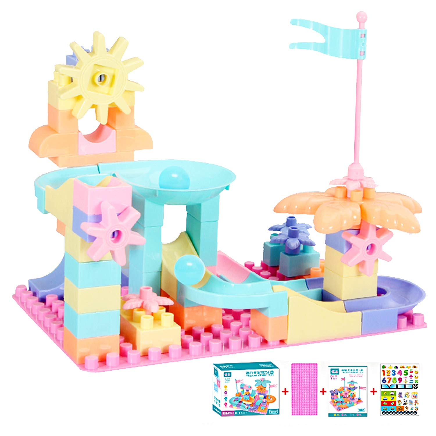 KISSKIDS 76 Piece Soft Plastic Multi Colored Building Block Set,with Sliding Track,Great for Kids & Toddlers,for Boys&Girls. (Macaron)