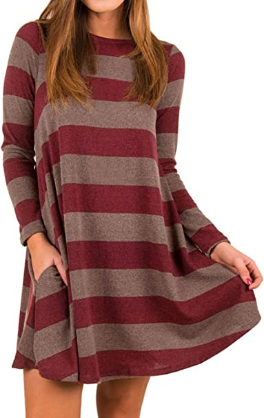 Futurino Damen T Shirt Kleid Langarm Loose Breit Gestreift Mini Kleid Amazon De Bekleidung