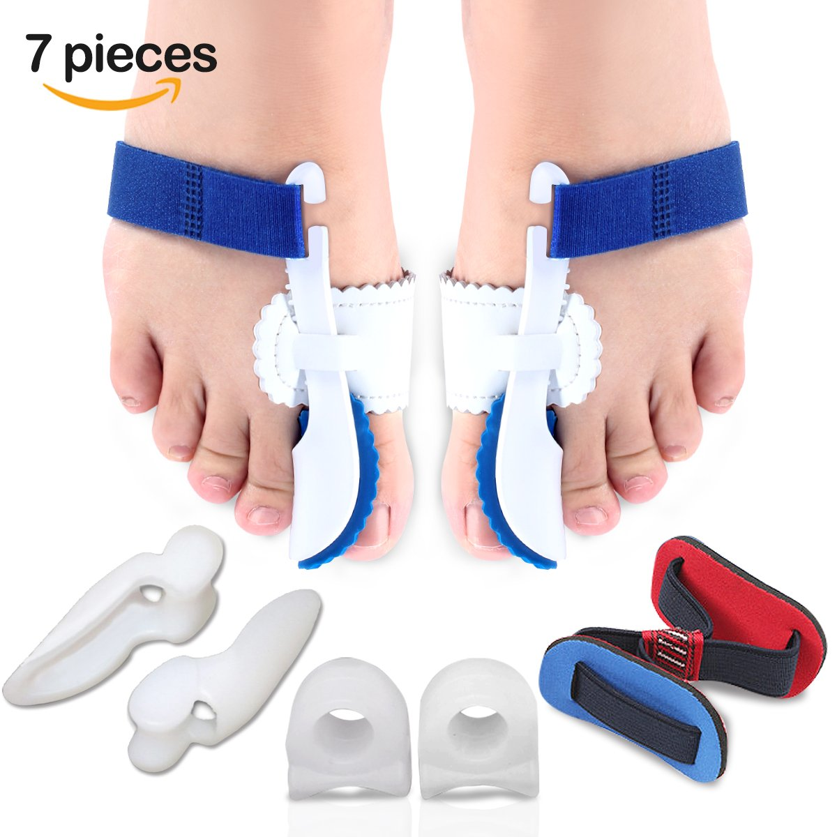 Bunion Corrector & Bunion Relief Kits(7 PCS) - Adjustable Bunion Splint and Soft Bunion Pads for Treat Pain in Hallux Valgus, Big Toe Joint, Hammer Toe,Toe Spacers Straighteners for Men and Women