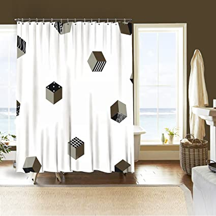 Wasserrhythm White And Champagne Bronze Decor Shower Curtain Illustration Of Geometric Figure Cube Artptrint 3D Vision