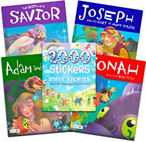 Bible Story Book Super Set for Kids Toddlers -- Bundle of 5 Deluxe Illustrated Bible Stories Books and Over 2000 Bible Stickers (Christian Giftss for Kids)