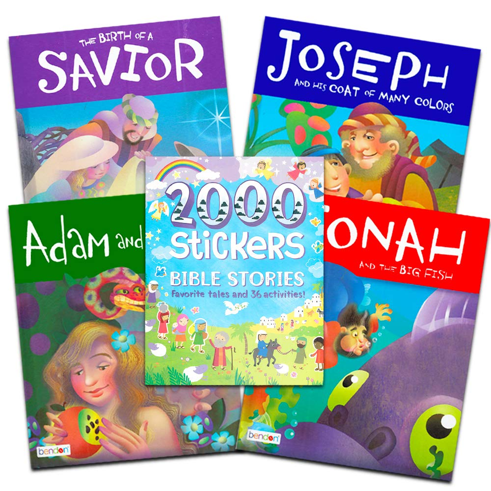 Bible Story Book Super Set for Kids Toddlers — Bundle of 5 Deluxe Illustrated Bible Stories Books and Over 2000 Bible Stickers (Christian Giftss for Kids)