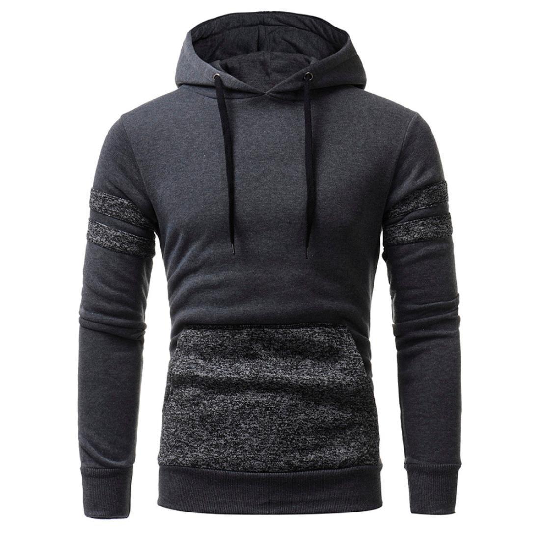 HTHJSCO Hoodie Coats, Men's Sweater Jackets Warm Hooded Sweatshirt Outwear Tops Pullover Jacket with Pocket (Gray, XL) by HTHJSCO