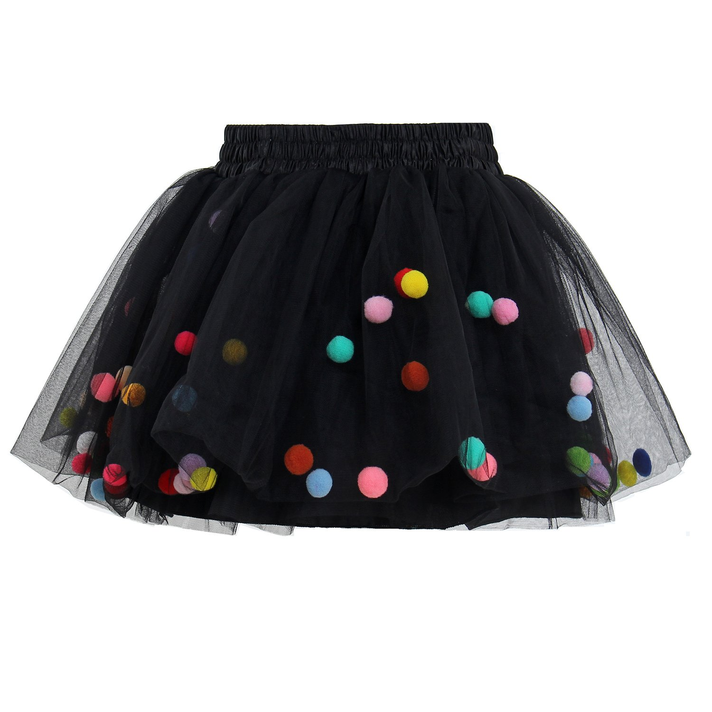 Tutu Skirt GoFriend Baby Girls Tulle Princess Dress 4-layer Fluffy Ballet Skirt with Little Pom Pom Puff Ball (L, Black)