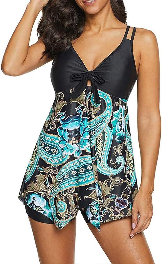Womens 2 Piece Swimsuits Tankini Top Set with Boy Shorts Slimming Swimdress Swimwear Plus Size Tankini Swimdress
