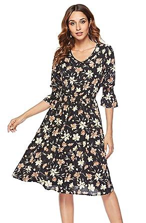 9716a1b2b37 Women's Floral V-Neck Flare Chiffon Dress Summer Casual Beach Dress 3/4  Bell Sleeve Swing Midi Dress
