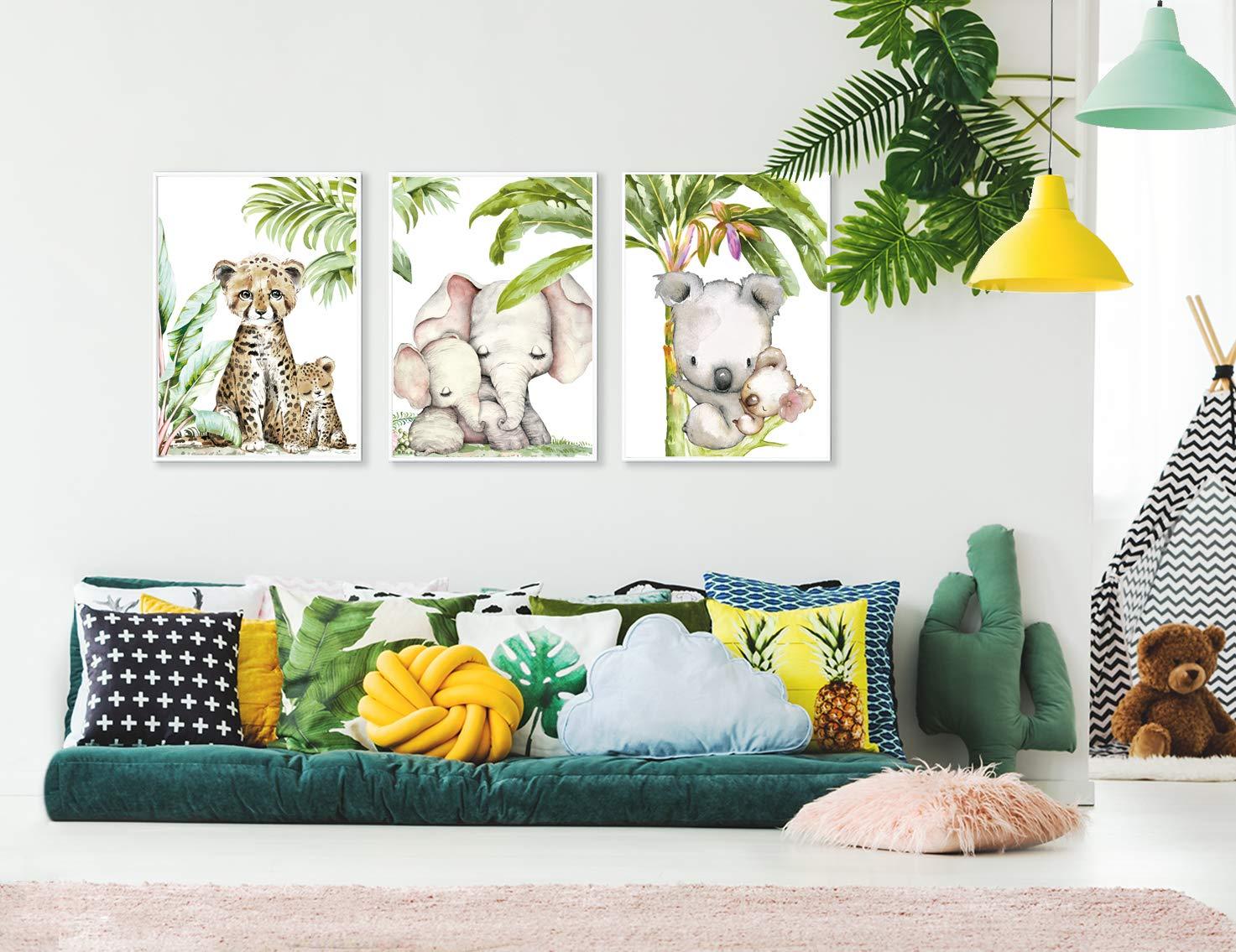 Artpin/® P54 Lot de 3 tableaux muraux pour chambre denfant Motif jungle d/él/éphant et tigre Koala Format A4
