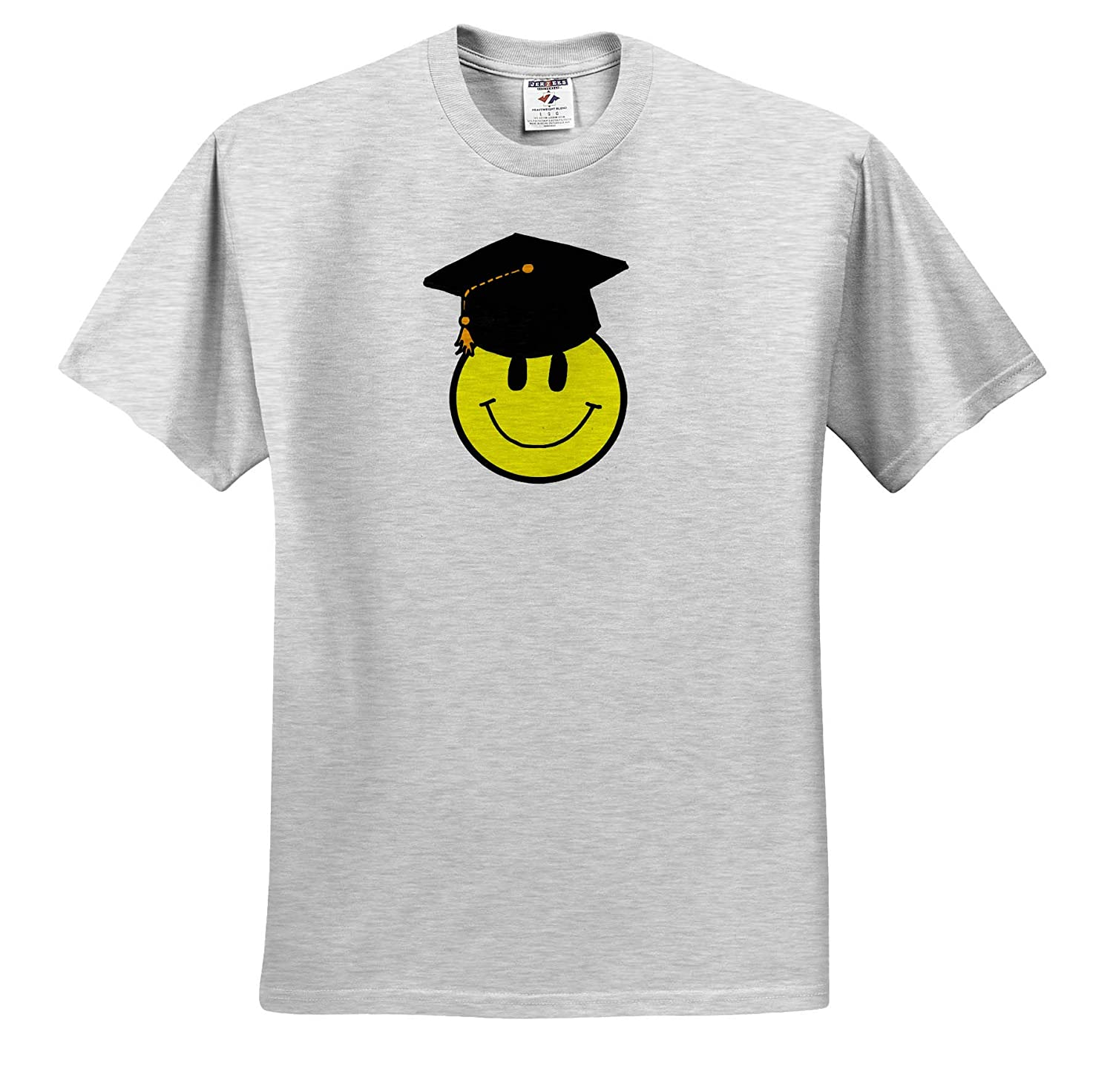 Cool Funny Smiley Face with Graduation Hat and Diploma Cartoon Funny 3dRose All Smiles Art Adult T-Shirt XL ts/_313473