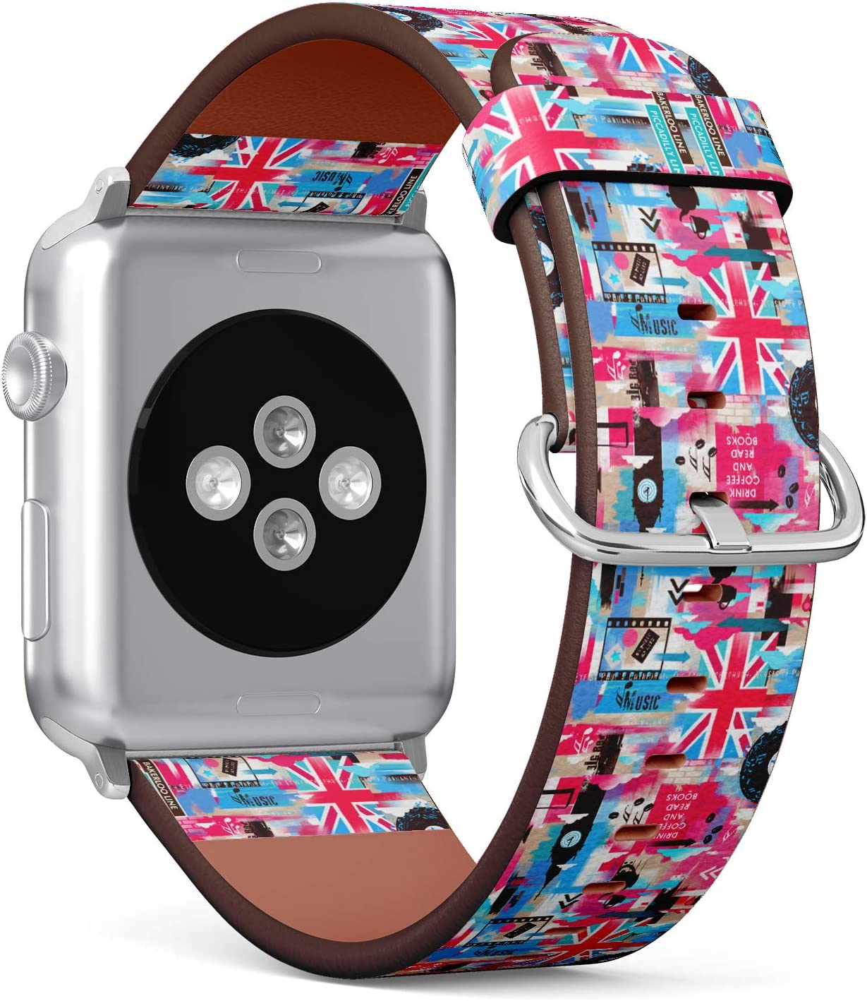S-Type Leather Bracelet Watch Band Strap Replacement Wristband Compatible with Apple Watch 4/3/2/1 Sport Series 38mm 40mm 42mm 44mm - London Pattern with Phone Booth, Big Ben, Flag of Great Britain