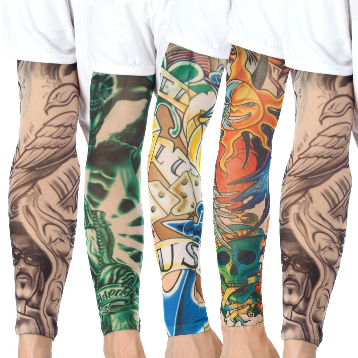 20PCS Set Arts Fake Temporary Tattoo Arm Sunscreen Sleeves - AKStore - Designs Tiger, Crown Heart, Skull, Tribal and Etc by Akstore (Image #4)