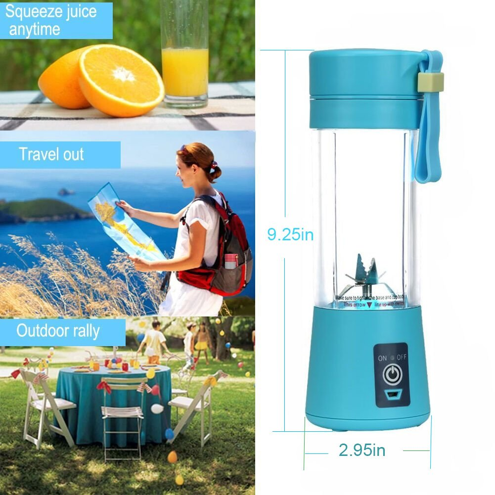 Panoeagle - Extractor y mezclador de zumo de frutas portátil de 380 ml con USB recargable y 6 cuchillas, para exterior, clase energética A+++., ...