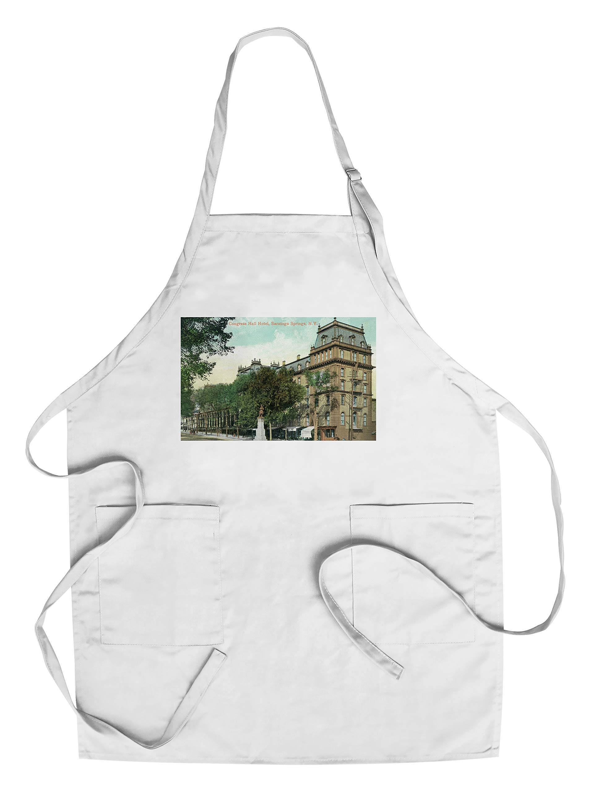 Saratoga Springs, New York - Congress Hall Hotel Exterior View (Cotton/Polyester Chef's Apron)
