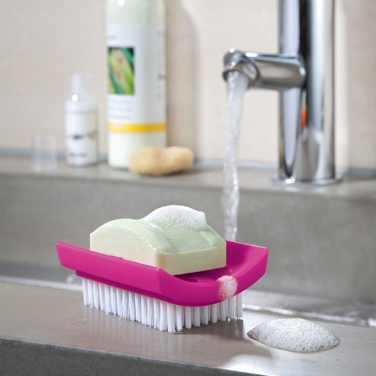 koziol Daily Soap Porta saponetta con spazzolino per Unghie Rosa s/ólido