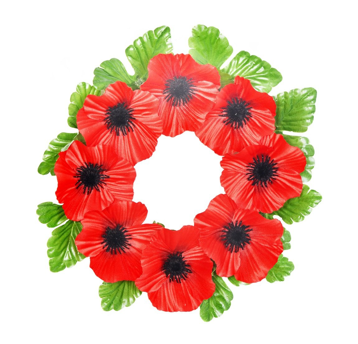 Artificial Poppy Wreath 25cm Diameter with 8 Flowers FB300SY