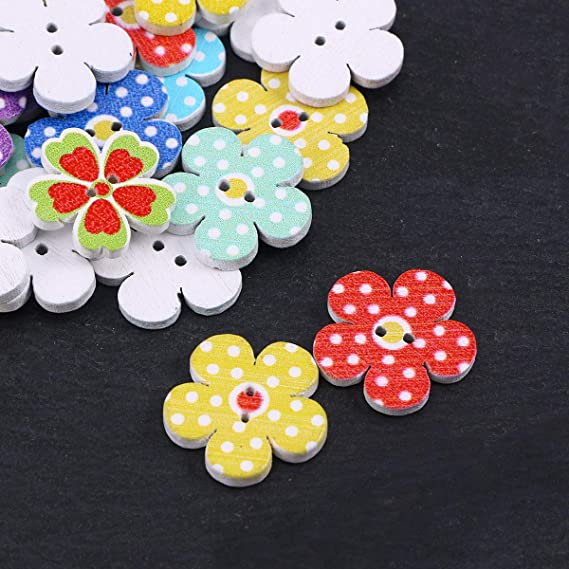 100pcs 28x28mm 2 Holes Mixed Tree Wooden Buttons Sewing Scrapbooking Craft