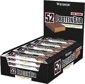 Weider 52% Barritas de Proteínas Cacahuete Caramelo - 50 gr. Barrita con 52% de proteína. Baja cantidad de azúcares.