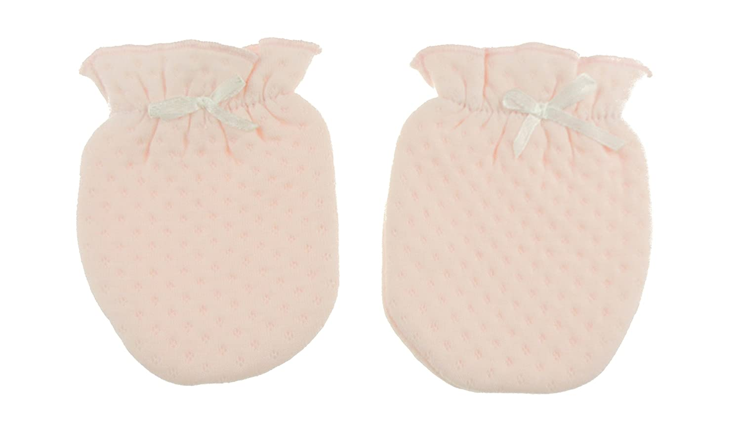 Baby Girls Boys Cotton Dotty Quilted Scratch Elasticated Scratch Mitts (Pink) Glamour Girlz