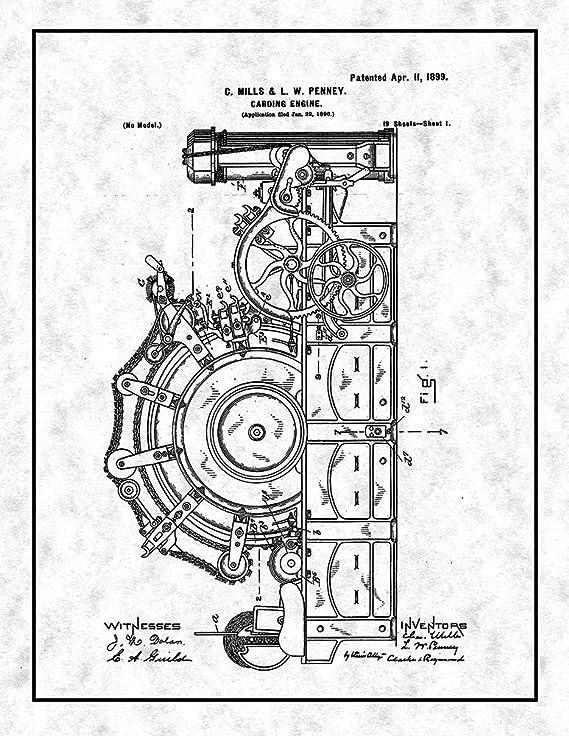 Amazon Com Carding Engine Patent Print Blueprint With Border 8 X