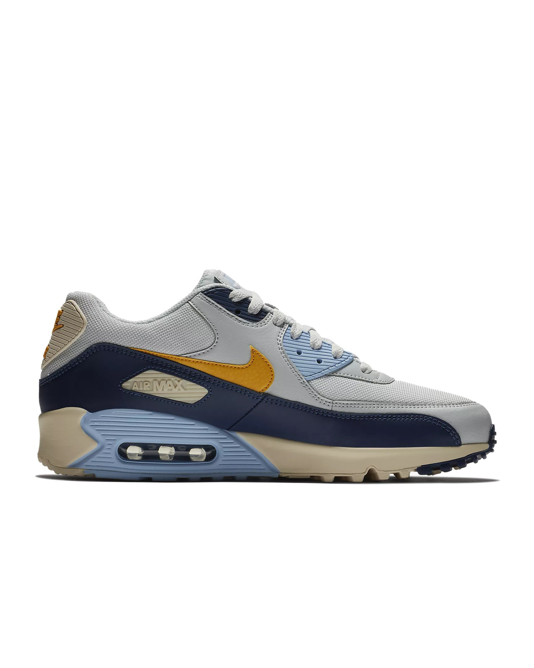 770deddbdfcf3e Galleon - NIKE Mens Air Max 90 Essential Running Shoes Pure Platinum Yellow  Ochre Blue Void AJ1285-008 Size 8
